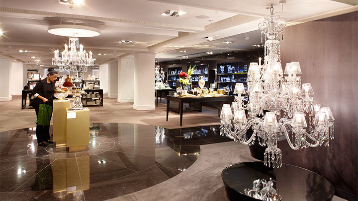Chandeliers at Harrods, UK with Philips LED lamps in the shape of a candle