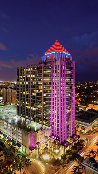 Philips color kinetic lighting at Las Olas City Center