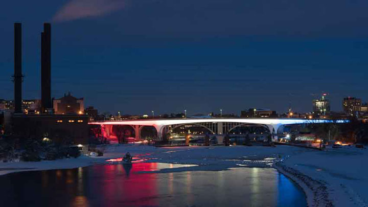 Minneapolis I-35 Bridge Installation in red, white and blue