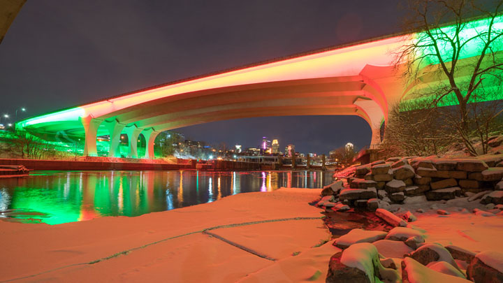 Minneapolis I-35 Bridge Installation in red and green
