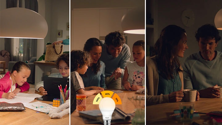 All three scenarios of the Philips SceneSwitch LED bulb light settings in one image