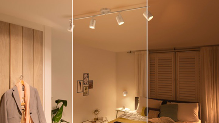 A room split in three different settings with each their own type of lighting
